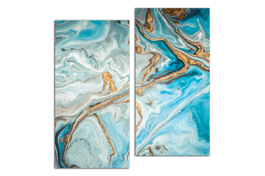 Модульная картина Бирюзовый с золотым
